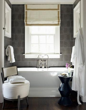 House Beautiful - bathrooms - roman shade, ribbon trim, grosgrain ribbon roman shade, grosgrain ribbon roman shades, gray tiles, gray staggered tiles, gray tiled bathroom, gray tile backsplash,
