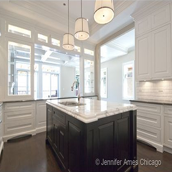 kitchens - chase pendants, two tone kitchen, espresso kitchen island, espresso center island, dark brown kitchen island, white cabinets, white kitchen cabinets, island prep sink, beveled subway tiles, beveled subway tile backsplash, Robert Abbey Chase Pendant,