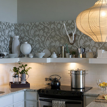 Heather Garrett Design - kitchens - wallpaper backsplash, kitchen backsplash, wallpaper kitchen backsplash,  Chic, modern kitchen design with