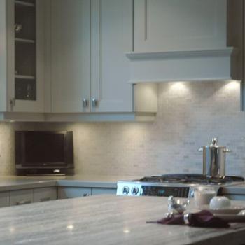 Style de Vie Design - kitchens - quartzite counters, quartzite countertops, gray quartzite counters, gray quartzite countertops, gray green cabinets, gray green kitchen cabinets, hazy skies, painted kitchen cabinets,