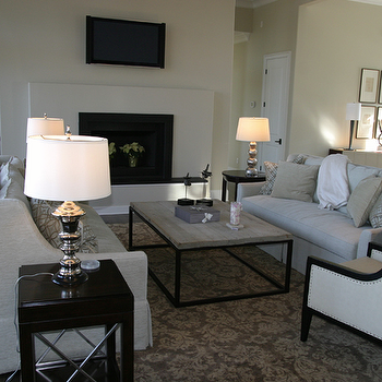 Damask Rug, Transitional, living room, Fowler Interiors