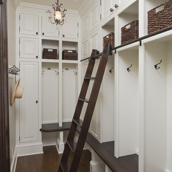 Mudroom Design, Transitional, laundry room, Benjamin Moore White Dove, Charlie & Co. Design