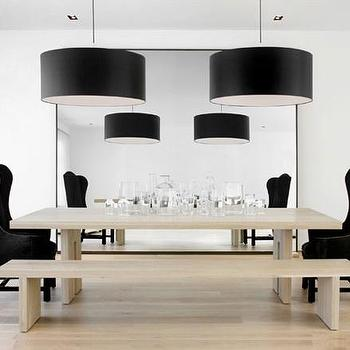 dining rooms - dining table, floor mirror, dining chairs, black dining chairs, velvet dining chairs, black velvet dining chairs, black drum pendants, dining bench,