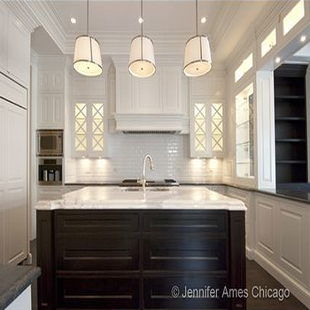 kitchens - chase pendants, two tone kitchen, espresso kitchen island, espresso center island, dark brown kitchen island, white cabinets, white kitchen cabinets, island prep sink, paneled fridge, paneled range hood, kitchen pass through, Robert Abbey Chase Pendant,