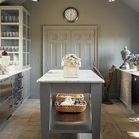 Martha Stewart - kitchens - gray, walls, gray, kitchen island, calcutta, marble, countertops, Martha Stewart, Bedford Gray, painted, kitchen, cabinets, martha stewart kitchen, martha stewart kitchen cabinets, martha stewart cabinets,