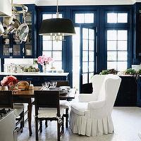Windsor Smith Home - dining rooms - glossy, blue, walls, hexagon, white, carrara, marble, tiles, floor, white, wingback, captain, chair, black, tapered, pendant, pot rack, rustic, farmhouse, dining table, wood chairs, cushions, wingback chairs, dining room wingback chairs, wingback chairs for dining room,