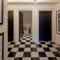entrances/foyers - white, black, marble, tiles, floor, black, doors, white, exposed, brick walls, crystal chandelier, black & white photography, art gallery,