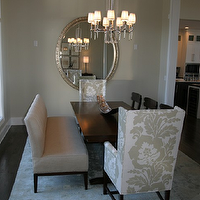 Fowler Interiors - dining rooms - dining chairs, captain chairs, dining room captain chairs, damask captain chairs, gray captain chairs, damask dining chairs, gray dining chairs, gray damask captain chairs, gray damask dining chairs, dining bench, rectangular dining table,