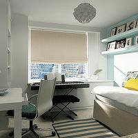 Marie Burgos Design - dens/libraries/offices - turquoise, blue, acent, wall, floating shelves, tan, linen, daybed, oatmeal, linen, roman shade, white, turquoise, blue, striped, rug, West Elm Parsons Desk,