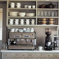 Martha Stewart - kitchens - gray, cabinets, espresso, machine, cups &amp; saucers, martha stewart kitchen, martha stewart kitchen cabinets, martha stewart cabinets,