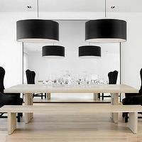 dining rooms - modern, black, velvet, wingback, captain, chairs, light oak, modern, dining table, bench, black, drum, pendant, chandeliers, black, floor mirror, dining chairs, black dining chairs, velvet dining chairs, black velvet dining chairs,