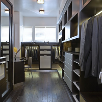 LA Closet Design - closets - espresso, floor mirror, espresso, cabinets, drawers, shelves,  Rich espresso stained cabinets, shelves and drawers.