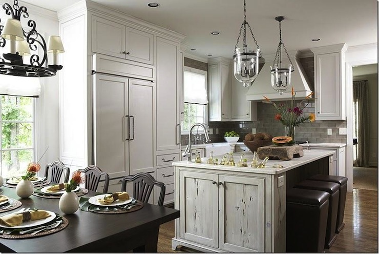 Distressed Kitchen Island Transitional Kitchen Dana Wolter