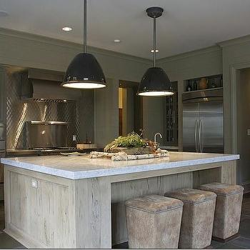 Dana Wolter Interiors - kitchens - distressed island, distressed kitchen island, distressed center island, black industrial pendants, ottoman bar stools, ottoman counter stools, gray cabinets, gray kitchen cabinets,
