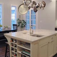 KItchen Lab - kitchens - white palams granite, white palamas, white palamas granite countertops, white granite countertops, white granite, white palasm granite countertops, white palasm granite, pot rack over island, white granite countertops,