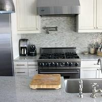 KItchen Lab - kitchens - white cabinets, white granite countertops, white granite,  Kitchen