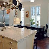 KItchen Lab - kitchens - satin nickel hardware, hardwood floor, white palamas granite, white palamas granite countertops, white granite countertops, white granite, pot rack over kitchen island,