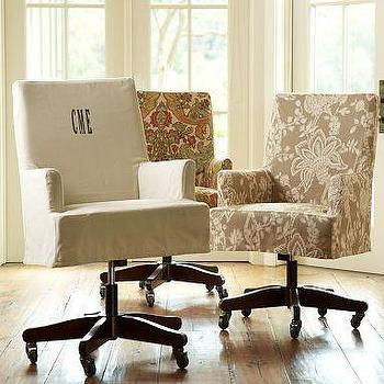 Seating - Napa Swivel Desk Chair | Pottery Barn - monogrammed, slipcovered, office chair