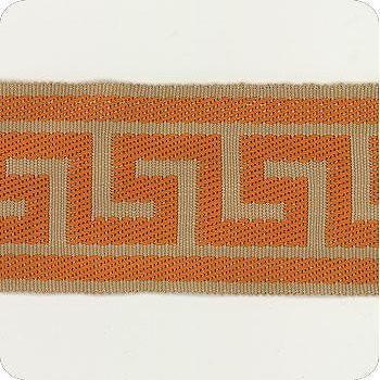Fabrics - Discount Designer Fabric - LS Fabrics - orange, brown, greek key, trim
