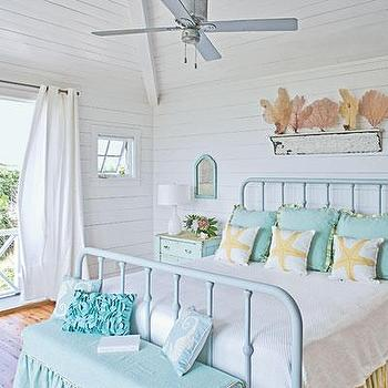 Coastal Living - bedrooms - beach, turquoise bed, turquoise metal bed, turquoise blue metal bed, turquoise bench, skirted bench, turquoise skirted bench,