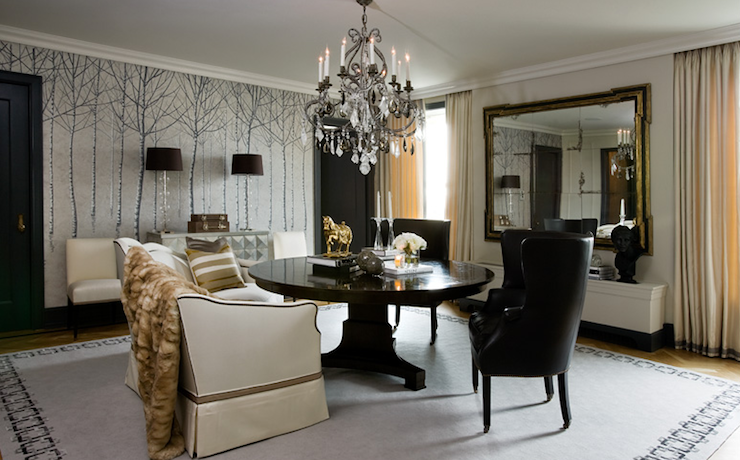 Black Wingback Chairs - Eclectic - dining room - Hallock Design Group
