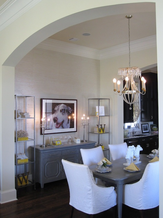 dining rooms - Benjamin Moore - Monterey White - gray dining table, white dining chairs, white slipcovered dining chairs, dining room etagere, gray cabinet, gray buffet cabinet,