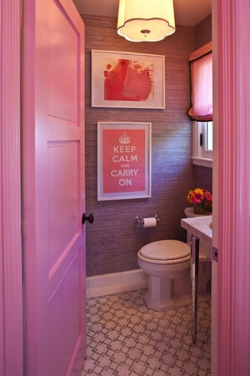 Grant K. Gibson - bathrooms - Barbara Barry Scallop Pendant, Pepto Bismol, pink, door, molding, purple, grasscloth, wallpaper, pink, roman shade, black, ribbon trim, Keep Calm and Carry On, art, white, gray, tiles, floor,