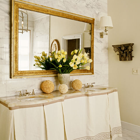 Greek Key Skirted Vanity - Transitional - bathroom - Grant K. Gibson