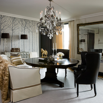 Hallock Design Group - dining rooms - crystal chandelier, dining chairs, black dining chairs, wingback dining chairs, black wingback dining chairs, wingback chairs, black wingback chairs,