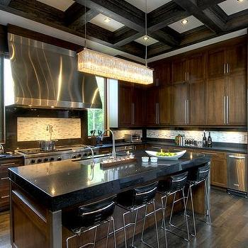 Taylor Hannah Architect - kitchens - crystal chandelier, pot filler, brown cabinets, brown kitchen cabinets, chocolate brown cabinets, chocolate brown kitchen cabinets,