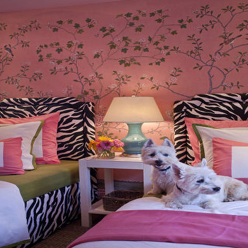 Grant K. Gibson - girl's rooms - pink mural, girls room, girls bedroom, shared girls room, girls room mural, zebra headboards, twin zebra headboards, shared nightstand, table as nightstand, turquoise lamp, pink bedding, parsons end table, pink and green bedding,