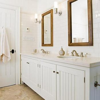 Beadboard Cabinets, Cottage, bathroom, Taylor Hannah Architect