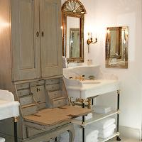 Windsor Smith Home - bathrooms - french cabinet, french bathroom cabinet, marble washstands, french mirrors,  Gorgeous white & gray bathroom