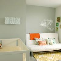 Chic & Cheap Nursery - nurseries - gray, green, walls, Anthropologie, coqo, yellow, floral, rug, Dwell studio, crib bedding, white, Oeuf Sparrow, crib, white, modern, furon, ikea, pillows,