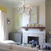 living rooms - Benjamin Moore Monterey White, living, fireplace, yellow,  W. Interiors Living Room design in the 2010 Acadiana Symphony Decorator