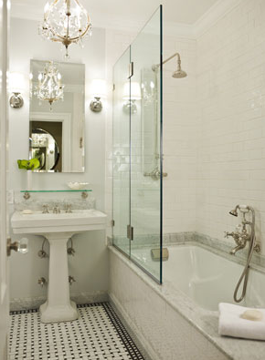 bathrooms - Restoration Hardware Vintage Glass Shelf gray walls white pedestal sink glass shelf rectangular mirror subway tiles shower surround rain shower head marble basketweave tiles floor
