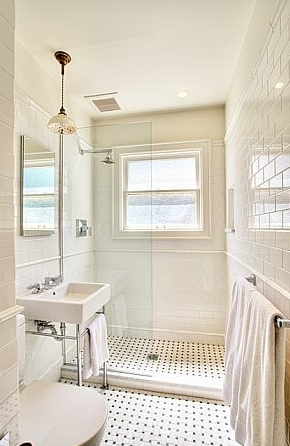 Bosworth Hoedemaker - bathrooms - white, carrara, marble, basketweave, tiles, floor, white, porcelain, sink, polished nickel, base, subway tiles, shower surround, backsplash, pendant, subway tile shower, white subway tile, subway tile bathroom, white subway tile bathroom, white subway tile shower,