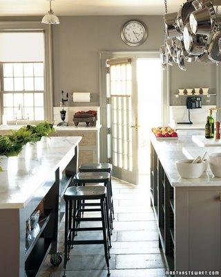 Martha Stewart - kitchens - Martha Stewart - Bedford Gray - black, industrial stools, calcutta, marble, countertops, gray, painted, kitchen cabinets, pot rack, gray, walls, martha stewart kitchen, martha stewart kitchen cabinets, martha stewart cabinets,