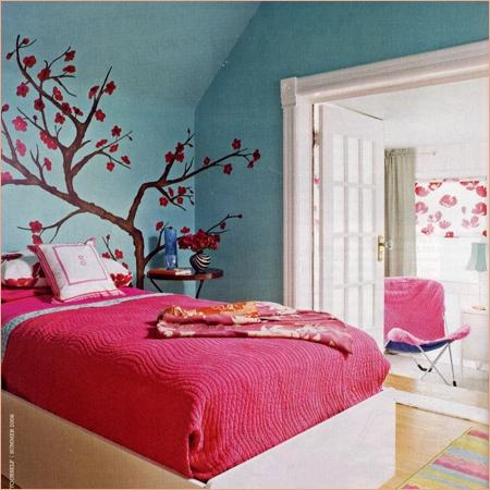 Furniture Home Design on Bedrooms   Blossom  Wall Decal  Hot Pink  Aqua  Tween  Girly Bedroom
