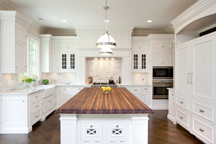 Oakley Home Builders - kitchens - Restoration Hardware Clemson Pendant, butcher block, kitchen island, countertop, white, glass-front, kitchen cabinets, white, carrara, marble, tiles, backsplash, farmhouse sink, butcher block, butcher block countertops, butcher block kitchen island, butcher block island,