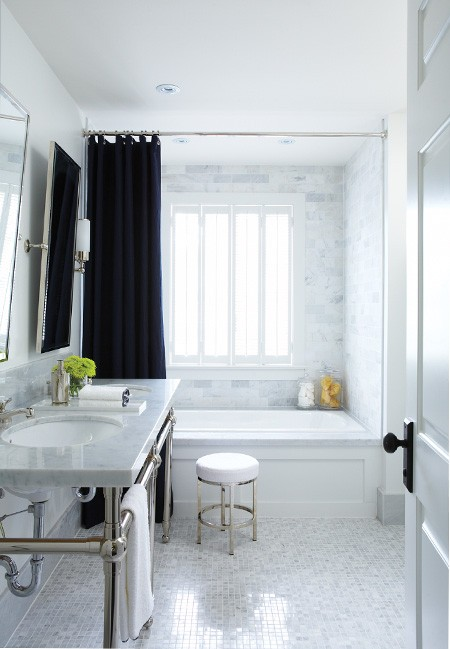 House & Home - bathrooms - white, carrara, marble, hexagon, tiles, floor, subway tiles, shower surround, white carrara, marble, double, washstands, polished nickel, base, rectangular, pivot, mirrors, black, grommet, drapes, polished, nickel, round, modern, stool, white, cushion,