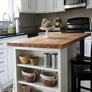 House Tweaking - kitchens - kitchen island, butcher block, butcher block countertops, butcher block kitchen island, butcher block island, island shelves, kitchen island shelves,