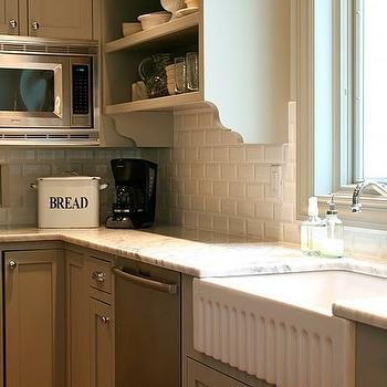 August Fields - kitchens - gray green kitchen cabinets, gray green cabinets, beveled subway tile, beveled subway tile backsplash, apron sink, white apron sink, microwave nook,