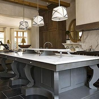 Summerour Architects - kitchens - gray kitchen island, grey kitchen island, grosvenor single pendant, gray kitchen island with white marble top, Sandy Chapman Grosvenor Pendant,