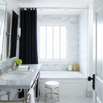 House & Home - bathrooms - black shower curtain, carrera marble, carrera marble subway tiles, carrera marble shower surround, mini marble tiles, mini marble floor tiles, double washstand, marble double washstand, waterworks stool, bathroom stool, rectangular pivot mirrors,