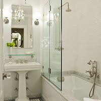 Morris Adjmi Architects - bathrooms - subway tile shower, white subway tile, subway tile bathroom, white subway tile bathroom, white subway tile shower, vintage glass shelf, pedestal sink, bathroom chandelier, glass shower partition, shower partition, Restoration Hardware Vintage Glass Shelf,