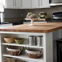 House Tweaking - kitchens - white, kitchen cabinets, butcher block, countertops, shelves, stools, kitchen island, butcher block, butcher block countertops, butcher block kitchen island, butcher block island,