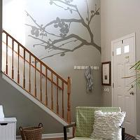 House Tweaking - entrances/foyers - Valspar - Bonsai - gray, walls, wall mural, green, trellis, chair, white, bench,  Fantastic huge branch mural