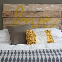 House Tweaking - bedrooms - Sherwin Williams - Suitable Brown - gray, brown, walls, rustic, DIY, Love, headboard, Ikea, wool, blue, gray, geometric, throw, taupe, pillow, yellow, ruffled, pillow,