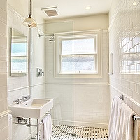 Gorgeous classic bathroom design with modern white porcelain sink with polished nickel ...